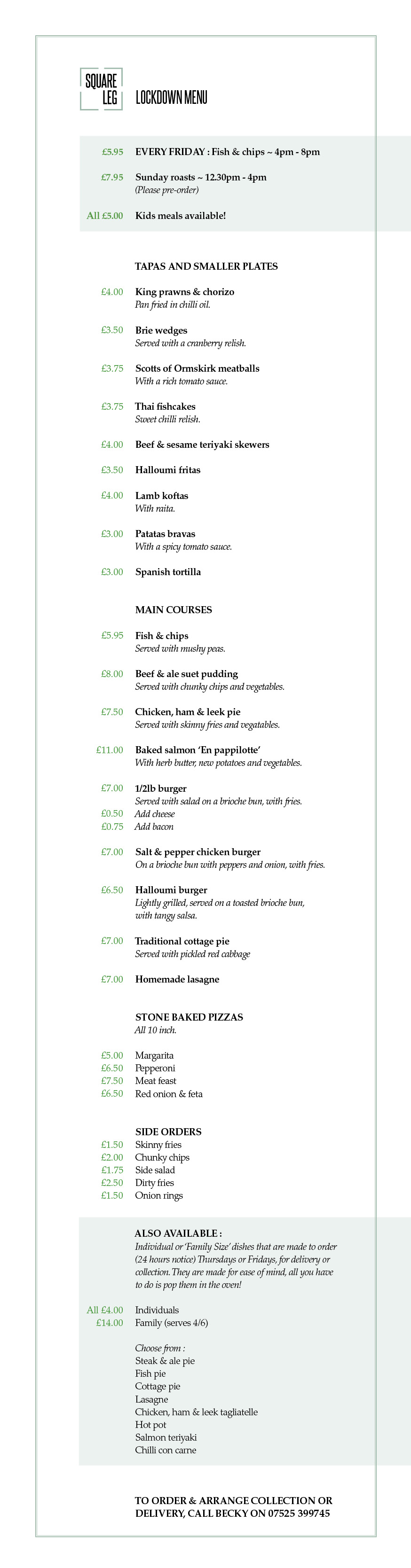 Square Leg Lockdown menu